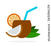 cocktail of coconut vector flat ... | Shutterstock .eps vector #565096159