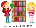 two girls in the library...   Shutterstock .eps vector #565114729