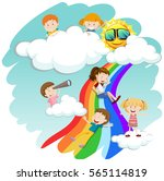 children sliding down the... | Shutterstock .eps vector #565114819