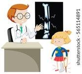 girl with broken bone seeing...   Shutterstock .eps vector #565114891
