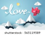 paper art of love calligraphy... | Shutterstock .eps vector #565119589