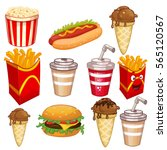 fast food set vector... | Shutterstock .eps vector #565120567