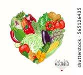 vector heart made of vegetables.... | Shutterstock .eps vector #565126435