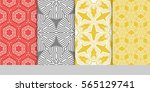 set of floral geometric lace... | Shutterstock .eps vector #565129741