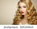 beautiful girl with long wavy... | Shutterstock . vector #565144414