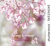 background with sakura and... | Shutterstock .eps vector #565154245