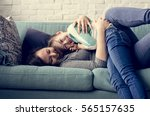 mom daughter spend time holiday ... | Shutterstock . vector #565157635