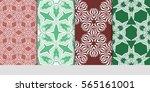 set of modern floral seamless... | Shutterstock .eps vector #565161001