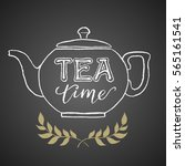 teapot drawn on chalkboard with ... | Shutterstock .eps vector #565161541