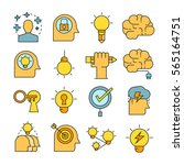 creative and brain icons color... | Shutterstock .eps vector #565164751