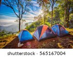 camping tent in the top of... | Shutterstock . vector #565167004