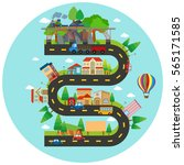infographic winding road and...
