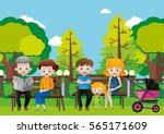 family sitting in a park...   Shutterstock .eps vector #565171609