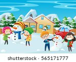 happy kids playing in winter... | Shutterstock .eps vector #565171777
