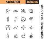 navigation flat icon set.... | Shutterstock .eps vector #565173985