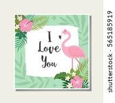 vector tropical card. cute... | Shutterstock .eps vector #565185919