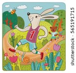 rabbit runner in the... | Shutterstock . vector #565191715