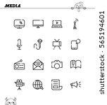 mass media flat icon set.... | Shutterstock .eps vector #565194601