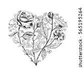 hand drawn heart of flowers.... | Shutterstock .eps vector #565195264
