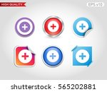 colored icon or button of plus... | Shutterstock .eps vector #565202881
