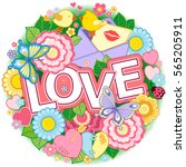 vector greeting card for lovers ... | Shutterstock .eps vector #565205911