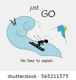 card just go with fun skier and ... | Shutterstock .eps vector #565211575