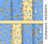 set of eight amazing patterns... | Shutterstock .eps vector #565220374