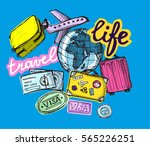 doodle hand drawn travel... | Shutterstock .eps vector #565226251