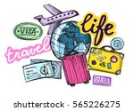 doodle hand drawn travel... | Shutterstock .eps vector #565226275