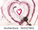A Heart Drawn By Lipstick  Wit...