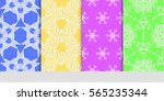 set of modern floral patterns... | Shutterstock .eps vector #565235344