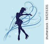 the figure skater's silhouette... | Shutterstock .eps vector #565251331