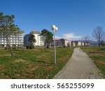Gravel path in city park, grass and young planted trees around - stock photo