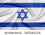 israel flag with fabric texture.... | Shutterstock . vector #565263124