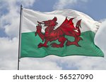 the flag of wales flying in...
