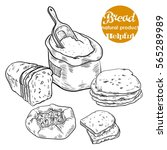 fresh bread and bakery products | Shutterstock .eps vector #565289989