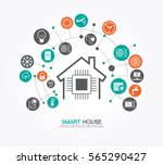 smart home control concept.... | Shutterstock .eps vector #565290427