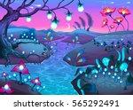 fantasy nocturnal landscape.... | Shutterstock .eps vector #565292491