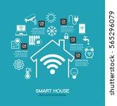 smart home control concept.... | Shutterstock .eps vector #565296079