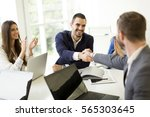 view at business people shaking ... | Shutterstock . vector #565303645