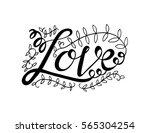 love with leaf. handwritten... | Shutterstock .eps vector #565304254