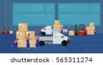 professional workers load the... | Shutterstock .eps vector #565311274