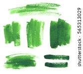 set of green watercolor hand...   Shutterstock . vector #565313029