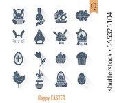 celebration easter icons. .... | Shutterstock . vector #565325104