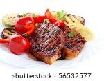 steak with vegetables on white... | Shutterstock . vector #56532577