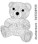 plush toy bear coloring book... | Shutterstock .eps vector #565328935