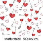 valentines vector pattern of... | Shutterstock .eps vector #565329691