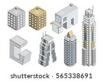 set of building isometric... | Shutterstock .eps vector #565338691