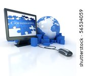 3D rendering of the Earth surrounded by boxes connected to a computer showing a puzzle with the word community - stock photo