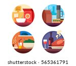 set of food icons to dinner or... | Shutterstock .eps vector #565361791